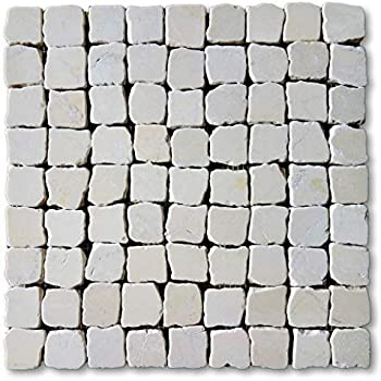 12x12 Marble Stone Tumbled Pebble Mosaic Wall /& Floor Tile Package of 5 Sheet Botticino