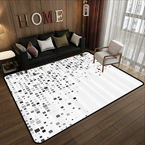 Rugs,Grey Decor,Digital Pattern Composed of Geometric Elements Radiant Rectangle Parallel Picture,Ash White 55