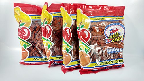 Pack of 4 Chaca-Chaca Chacatrozo Mexican Chili Candy 400 grams bags (Free Kinder chocolate included) Paquete de 4 Chaca-Chaca Chacatrozo dulce de frutas con sal y chile Valentines Day