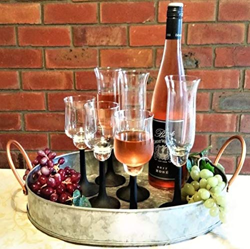 Galrose OVAL DRINKS/DECORATIVE SERVING TRAY Heavy Duty Galvanized Iron Serving Dish/Platter Rose Gold Handles for Breads Meats Salads Fruit Centre Piece or Hold All - 6th Wedding Anniversary Gift Idea - Gold Finished Iron