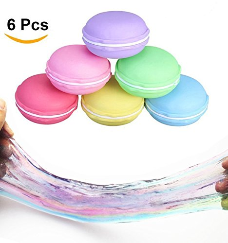 - RoterSee 6PCS Crystal Clay Macarons Clear Slime Jelly Toy Soft Mud DIY Clay Magic Plasticine Stress Reliever Toys For Children