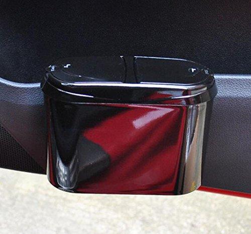 Suplove Creative double door car trash cans storage box debris bucket (Black)