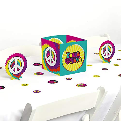 Big Dot of Happiness 60's Hippie - 1960s Groovy Party Centerpiece & Table Decoration Kit -