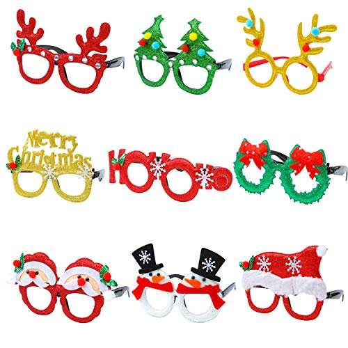 Christmas Decorations Office (Aneco 9 Pieces Christmas Glitter Party Glasses Christmas Decoration Costume Eyeglasses Party Glasses Frame for Holiday Favors, Assorted)