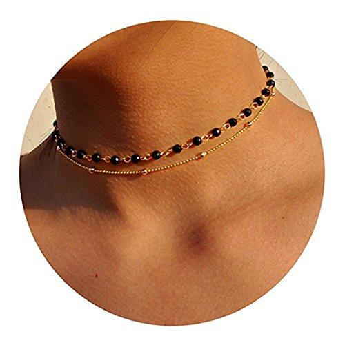 Anqifull Dainty Layered Gold Chocker Handmade Beads Fill Heart White Opal Necklace for Women Girls