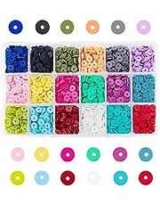 PandaHall Elite 4500-5400 stks Spacer kralen Polymeer Clay Spacer kralen handgemaakte platte ronde polymeer klei kraal Spacers voor DIY sieraden ketting armband, 6x1mm, gat: 2mm