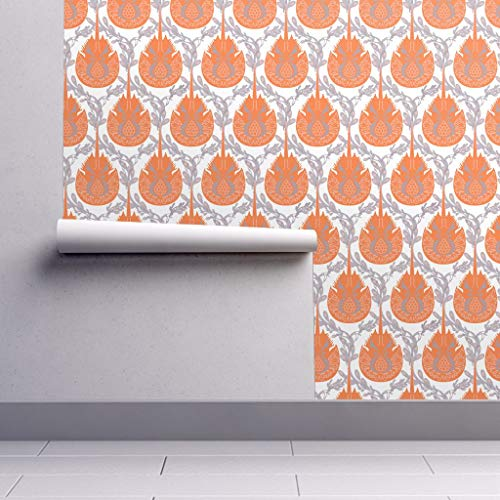 Peel-and-Stick Removable Wallpaper - Horseshoe Crab Damask Horseshoe Crab Horseshoe Crab Damask Seaweed by Lynnbishopdesign - 24in x 96in Woven Textured Peel-and-Stick Removable Wallpaper Roll