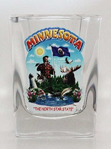 (Minnesota State Montage Square Shot Glass)