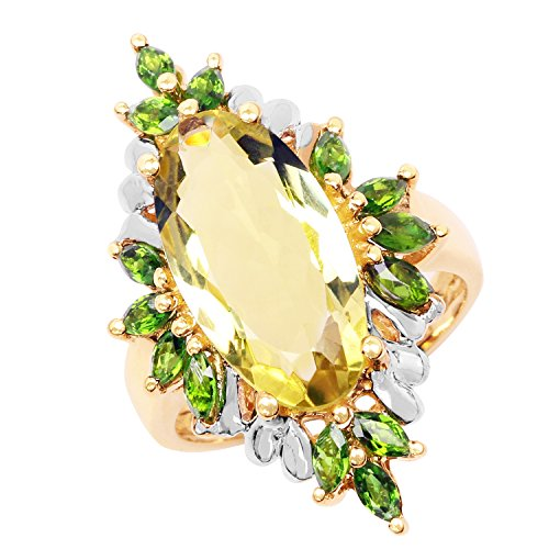 14k Diopside Ring - Johareez 6.32 cts Lemon Quartz & Chrome Diopside .925 Sterling Silver 14K Yellow Gold Plated Ring for Women