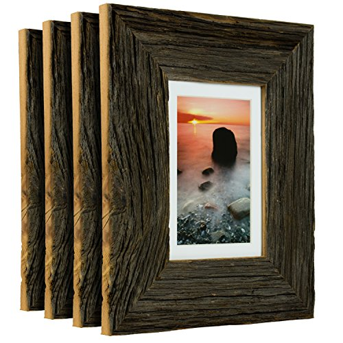 Craig Frames 5 by 7-Inch Reclaimed Barnwood Picture Frame with Single White Mat for Displaying a 4 by 6-Inch Photo, Weathered Dark Natural, Set of 4 - Distressed Natural