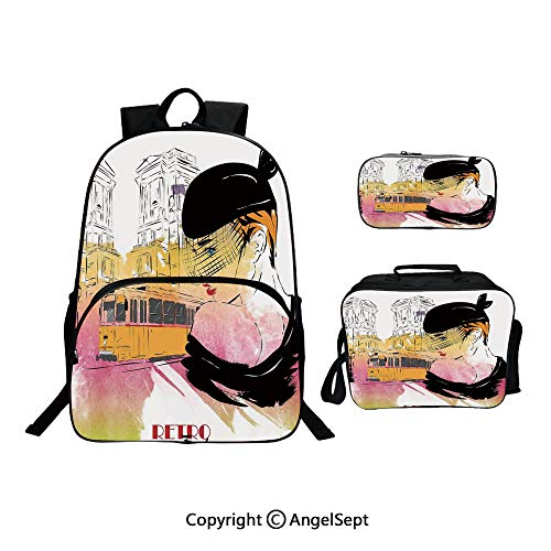 Custom Three-Piece School Bag,Lunch Bag,Pencil Bag,Lady Posing in front of Tramway Sketch Retro Romance Aesthetics Yellow Purple,For Travel School Hanging Out Gifts