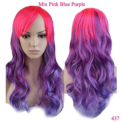 Wig Cosplay Party Costume Soft Synthetic Unisex Ombre Long Curly Synthetic Heat Resistant Fibre Full Head Hair -