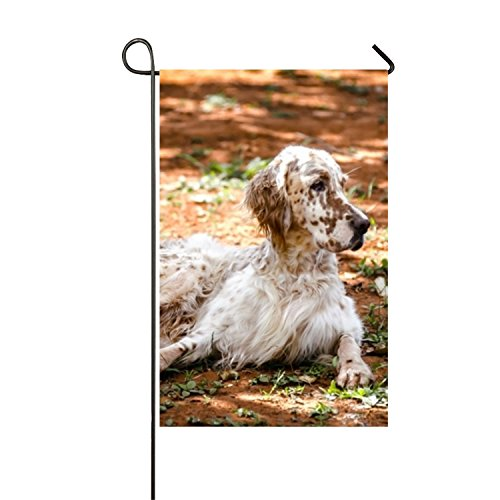 English Setter Seasonal Garden Flag, Double-sided Flags for Outdoor Yard Decoration, Thick Weatherproof Top Quality Polyester Fabric, Adorable Artist Drawn Colorful Artwork 12x18