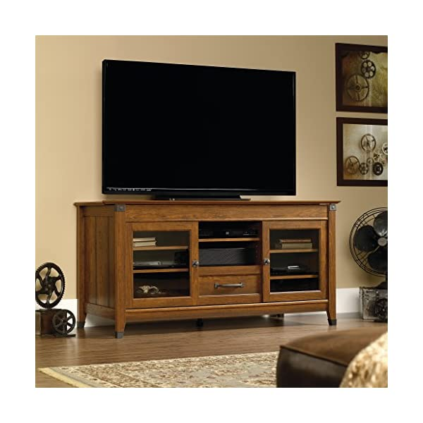"""Sauder Carson Forge Entertainment Credenza, For TV's up to 60"""", Coffee Oak finish"""
