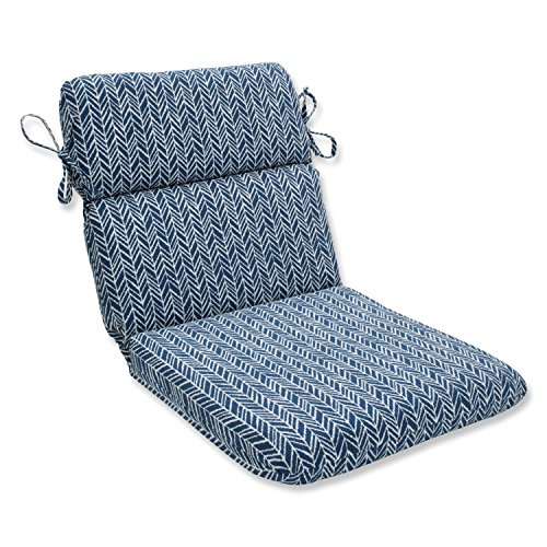 Pillow Perfect Herringbone Ink Blue Rounded Corners Chair Cushion Review