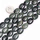 Joe Foreman Rhyolite Kambaba Jasper Beads for Jewelry Making Natural Gemstone Semi Precious 12x16mm Dark Green Oval 15''