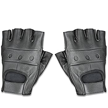 a25544557a0 Raider Leather Fingerless Men s Motorcycle Premium Driving Gloves (Black