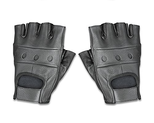 Raider Leather Fingerless Men's Motorcycle Premium Driving Gloves (Black, Medium) -