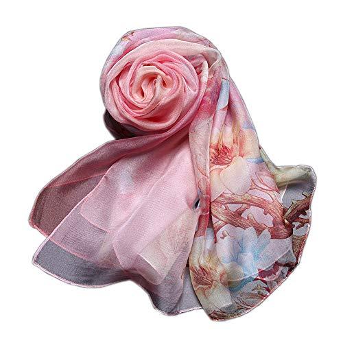 Women Fashion Silk Scarf Oblong Floral Oversize Soft Shawl Beach Wrap (Pink2) (Soft Scarf Floral)