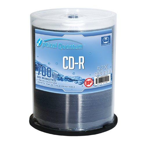 UPC 842378001902, Optical Quantum BP 52x CD-R Liquid-Defense Media White Inkjet Hub Printable 100 pack