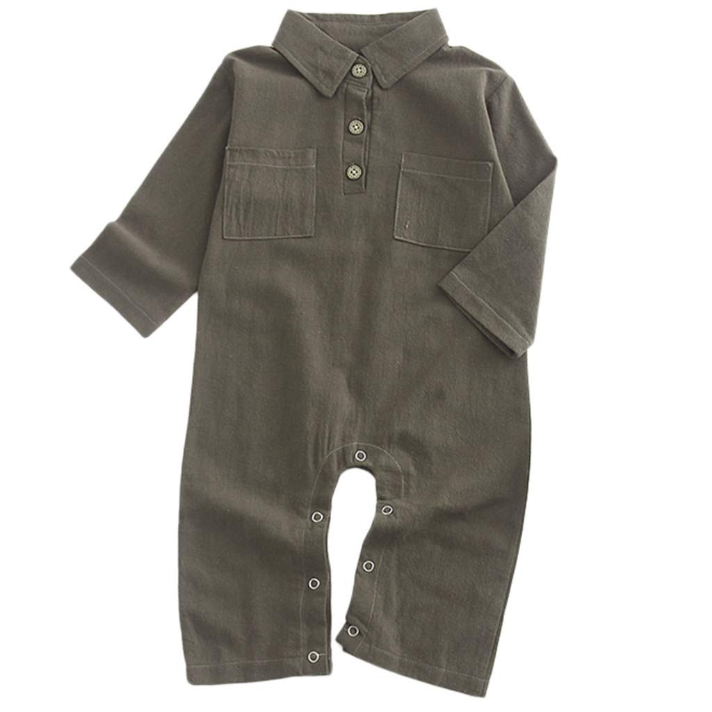 NUWFOR Newborn Baby Girl Boy Long Sleeve Solid Romper Outfits Jumpsuit Clothes (Brown,3-6 Months)