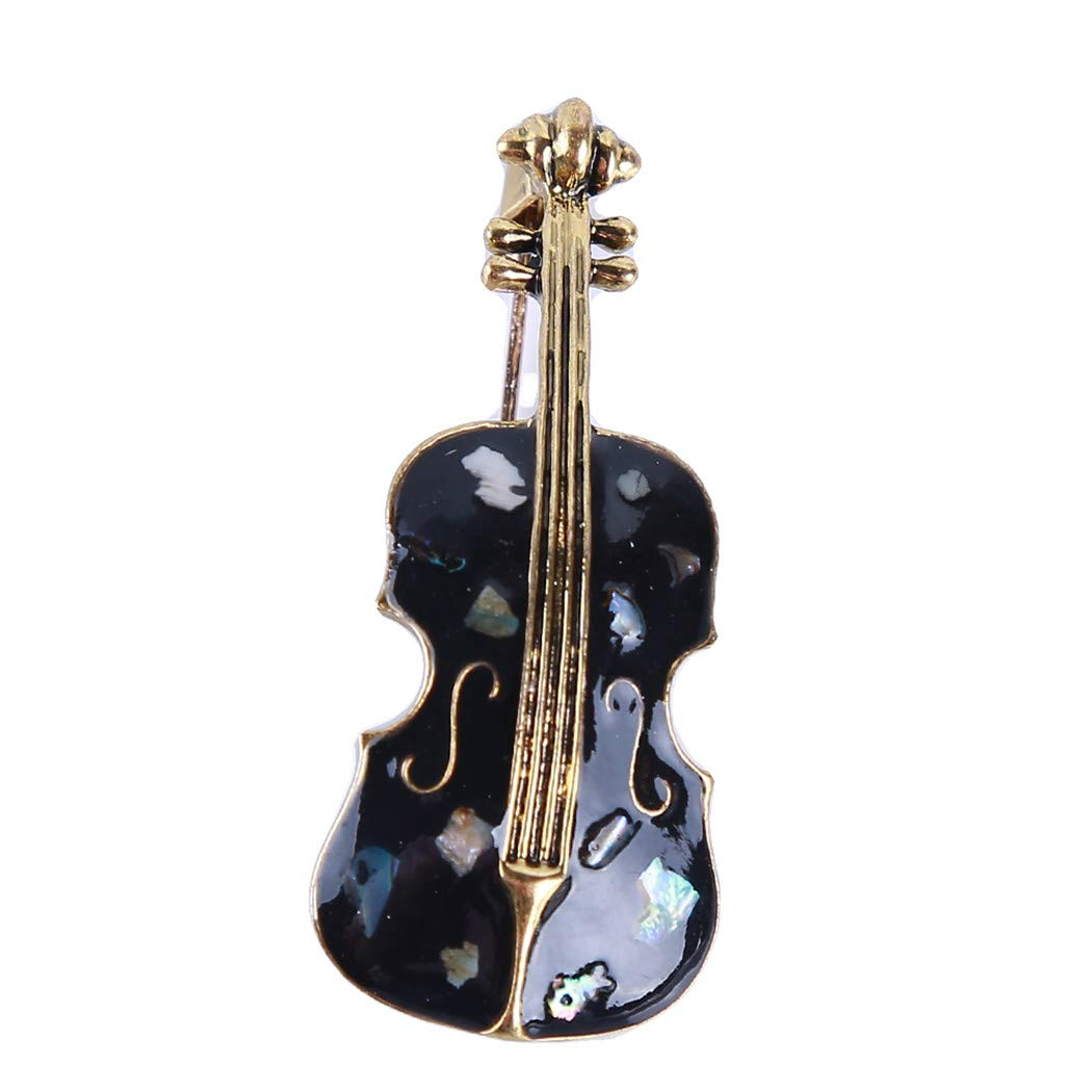 Eleusine Vintage Cello Guitar Violin Shell Brooches Apparel Accessory Women Lapel Pins (Style 1)