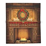 Society6 Christmas Fireplace 68'' x 80'' Blanket