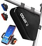 Colux Sport Triangle Bike Bag & Handlebar Phone Holder - Weatherproof & Water Resistant Saddle Frame Top Tube Bicycle Storage Pouch w/Adjustable & 360-Degree Rotatable Cycling Smartphone Mount