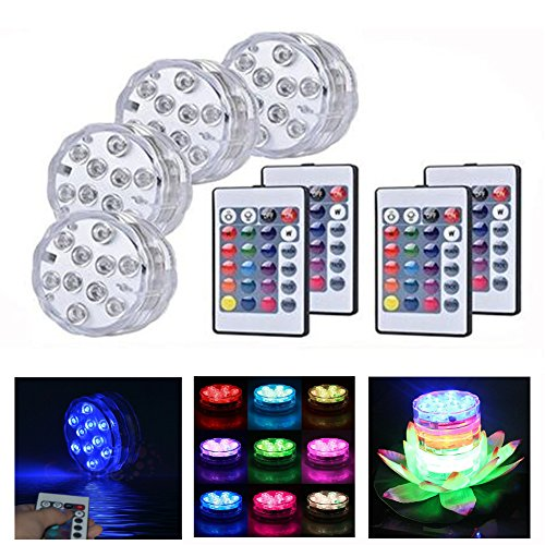 Thiroom 4pcs X Submersible LED Lights Underwater Colour Changing Lights AAA Battery with 4pcs Remote Control for Wedding Centerpiece Halloween Party Lights Fish Tank