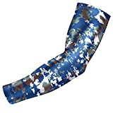 kids baseball protection - Bucwild Sports Digital Camo Compression Arm Sleeve Youth/Kids & Adult Sizes - Baseball Basketball Football Running - UV/Sun Protection Cooling Base Layer(Blue Gray - Youth Small YS)