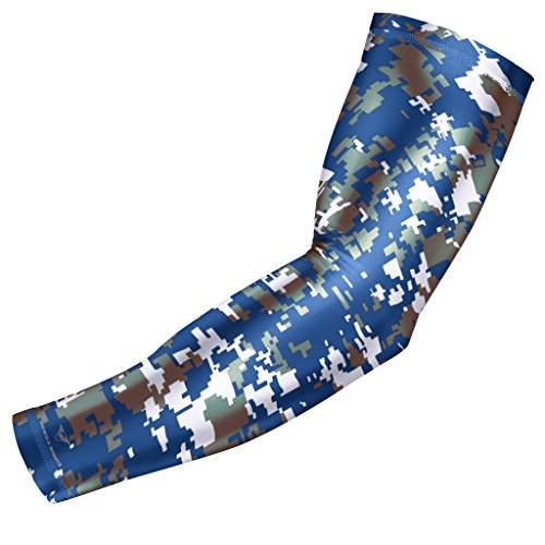 Bucwild Sports Digital Camo Compression Arm Sleeve Youth/Kids & Adult Sizes - Baseball Basketball Football Running - UV/Sun Protection Cooling Base Layer(Blue Gray - Adult Large ()