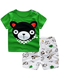 Ancia Unisex Baby Boys Girls 2-Piece Cotton Pajama Sleepwear Outfits Set