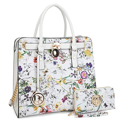 - Marco Collection Women's Fashion Pad-lock Satchel handbags with wallet(2553)~Designer Purse for Women ~Multi Pocket ~ Beautiful Designer Handbag Set(02-2553w-white Floral)
