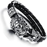 JewelryWe Bijoux Bracelet Homme Tête de Mort Crâne Gothique Diable Croix Anniversaire Halloween Noël Tresse Cuir Acier Inoxydable Fantaisie Longueur 18cm