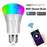 Smart LED Bulb, Weton Multicolored WiFi Smart Light Bulbs Work with Amazon Alexa Google Home,No Hub Required, Remote Control via Free App for iphone Android,Dimmable Night Light Sunrise Wake Up Light