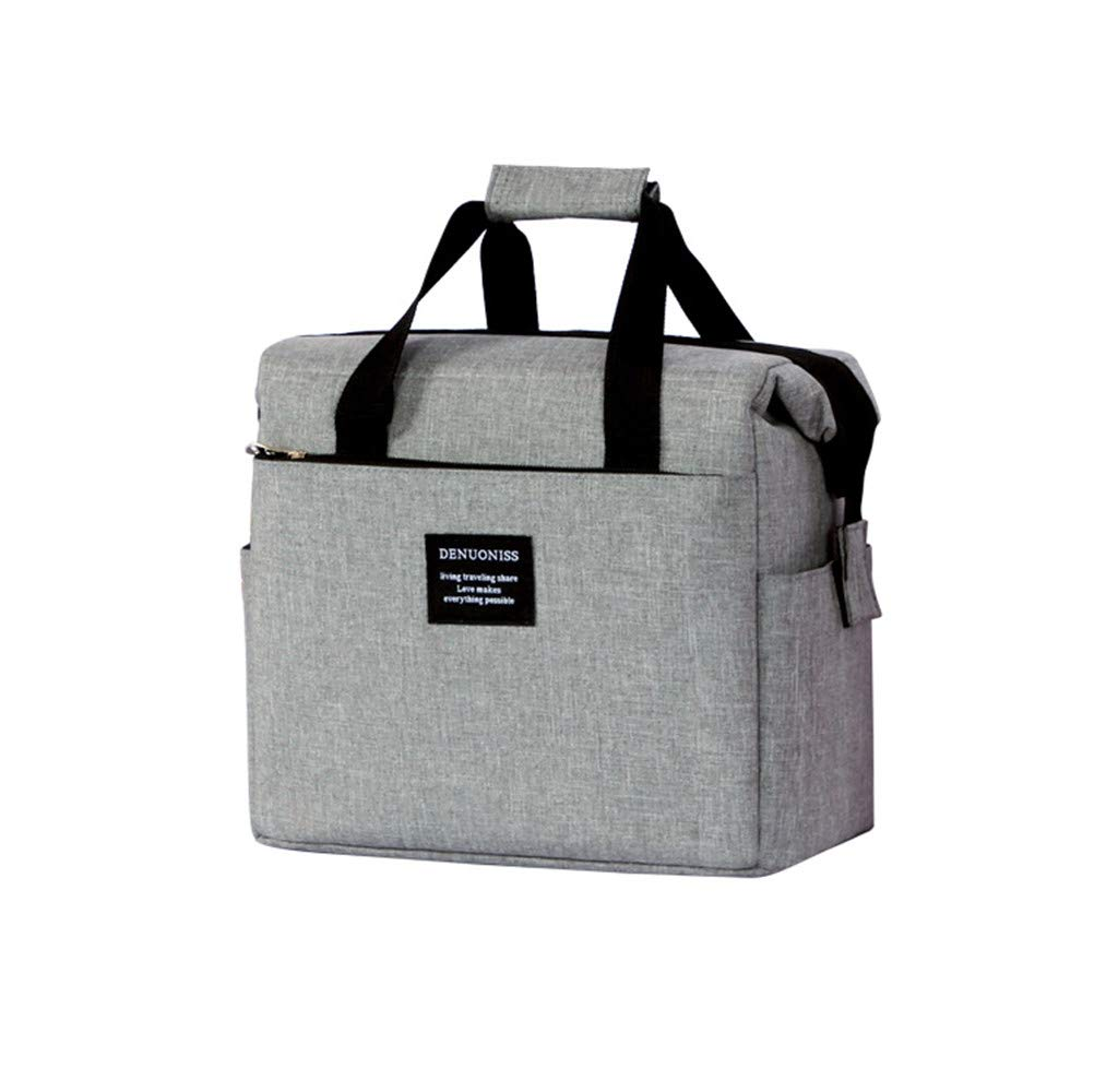 Lunch Bag,Popoti Insulated Cooler Bag Picnic Bag Box Large Meal Prep Tote Handbag Storage for Outdoor Camping/Travel/Beach (24x16x23cm, Grey-B)