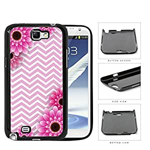 Pink and White Chevron Pattern with Pink Flower Daisy in Corners Background Samsung Galaxy Note II 2 N7100 Hard Snap on Plastic Cell Phone Case Cover