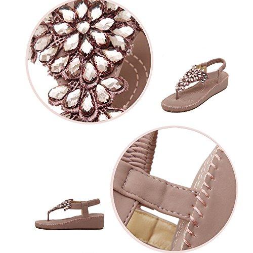 Post Taille Plates Cheville Chaussures Plage Couleur Bas A CN36 Sandales de Femmes Sangle ZHANGRONG B de UK4 EU36 Talon Tongs d'été YaqxPBwp