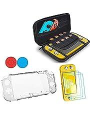 XSRTT Kit para Nintendo Switch Lite, 4 en 1 Accesorios Conjunto para Switch Lites, 1 x Carcasa Transparente, 1 x Estuche de Transporte, 3 x Protector de Pantalla y 2 Apretones de Pulgar