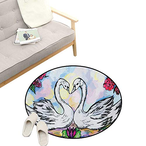 Swan Round Rugs ,Grunge Style Sketch Image of Love Valentines in Pond Lily Flowers Red Roses, Design Home Decoration 39