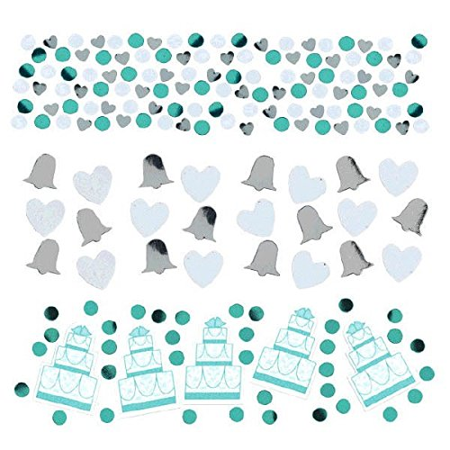 Amscan Value Pack Sweet Robin's Egg Cake, Heart & Bell Party Confetti, 1.2 oz, Blue (Silver Confetti Bells)