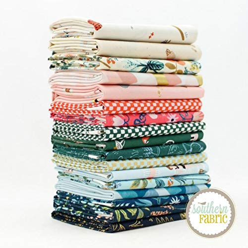Cotton and Steel Amalfi Fat Quarter Bundle (17 pcs) by Rifle Paper Co 18 x 21 inches (45.72cm x 53.34cm) Fabric cuts DIY Quilt Fabric