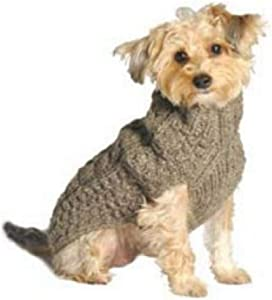 Chilly Dog Cable Dog Sweater, Small, Grey