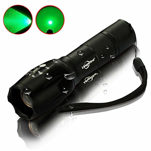 LingsFire Zoomable Scalable LED Flashlight CREE-XML Q5 18650 Or AAA Battery Supported Waterproof Flashlight 300 lumen Cree XML Q5 Tactical Torch Glim Lantern (Green ()
