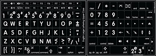 Mac English Large Lettering Keyboard Sticker New Matte Black Background
