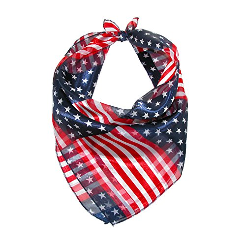 CTM Women's 21 Inch Stars and Stripes American Flag Square Scarf, American - Square American Flag