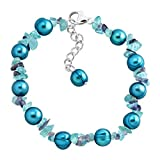 Honora Teal Freshwater Cultured Pearl Bead Bracelet with Natural Iolite & Apatite Chips in Sterling Silver
