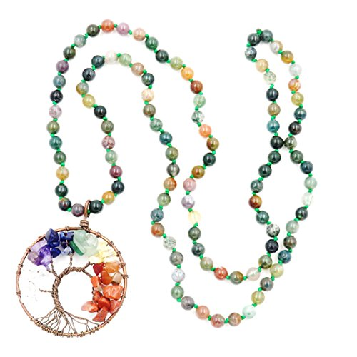 Malahill Tree of Life Necklace, Hand Knotted Gemstone Necklace, The Best Birth Day Gift (Indian - Agate Indian Pendant