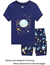 Shark Little Boys Shorts Set Pajamas 100% Cotton Clothes Toddler Kid