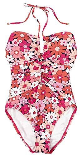 - Michael Michael Kors Women's Cherry Summer Flower Shirred Keyhole Halter One-Piece w/Removable Soft Cups Deep Pink 8